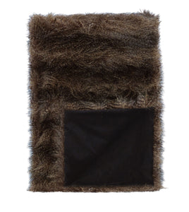 Earth Tone Solid Rustic Faux Fur Throw