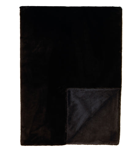 Black Solid Rustic Faux Fur Throw
