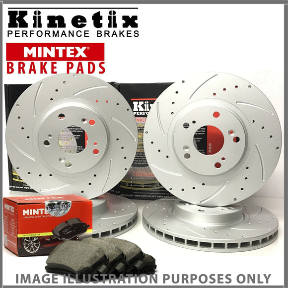 b16 For Peugeot 308 1.6 THP 150 14-18 Front Rear Drilled Grooved Discs Pads