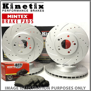 65w For Renault Laguna Sport Tourer 2.0 dCi GT -18 Front Rear Grooved Discs Pads