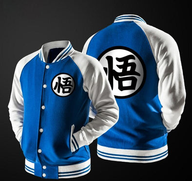 Dragon Ball Goku Mandarin Collar blue Autumn Baseball Varsity Jacket - SaiyanBall