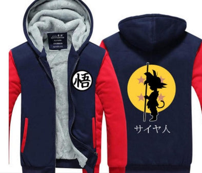Dragon Ball King Kai Kanji Symbol Red Navy Zipper Hooded Jacket - SaiyanBall