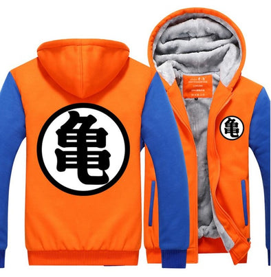 Dragon Ball King Kai Kanji Symbol Orange Blue Zipper Hooded Jacket - SaiyanBall