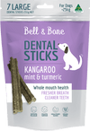 australian made and grain free dog treat, kangaroo mint and turmeric dental stick, small size for dogs over 25kg