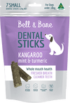 australian made and grain free dog treat, kangaroo mint and turmeric dental stick, small size for dogs up to 10kg
