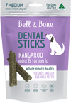 australian made and grain free dog treat, kangaroo mint and turmeric dental stick, small size for dogs between 10 and 25kg