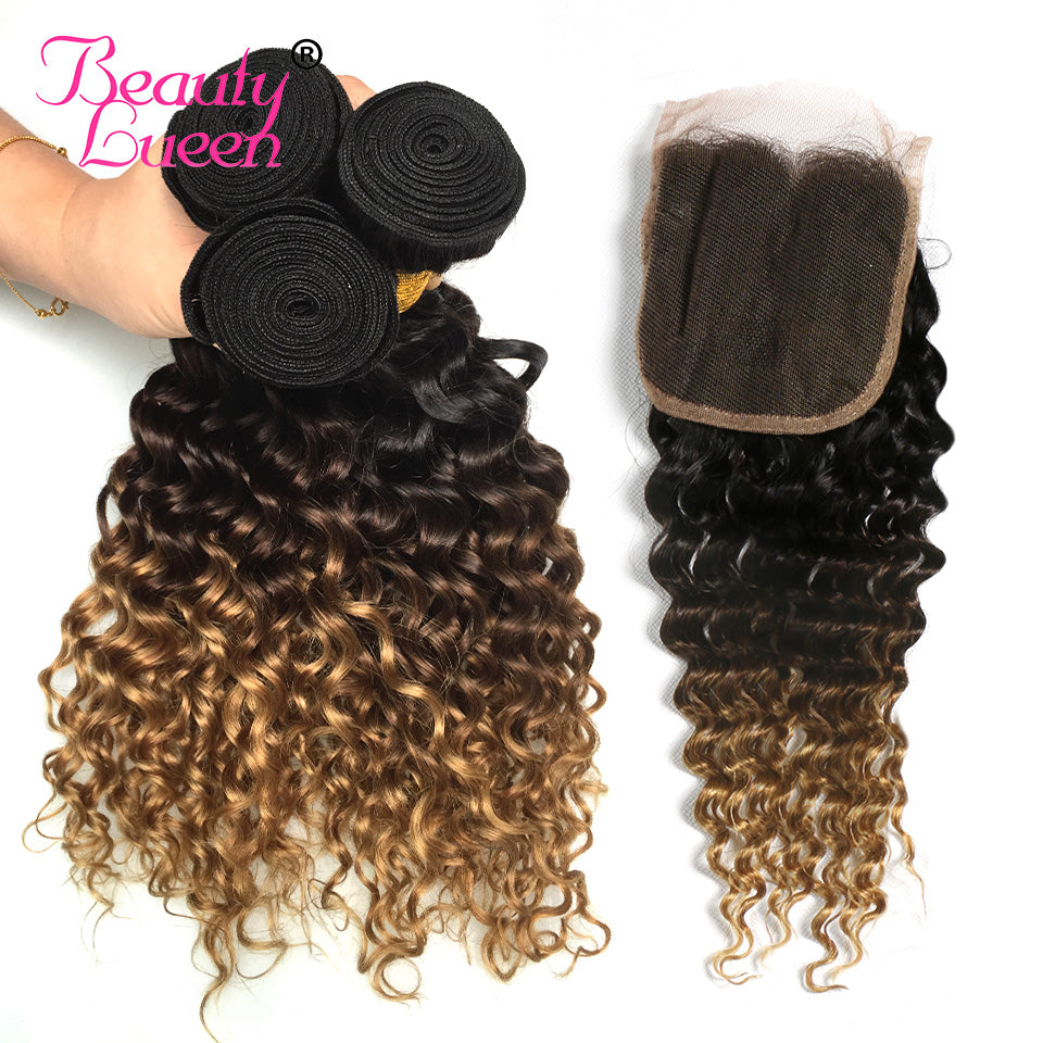 Ombre Human Hair Bundles With Closure Ombre Honey Blonde Deep Wave