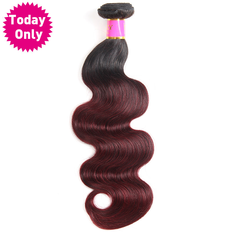 Today Only Burgundy Brazilian Body Wave Bundles Ombre Human Hair