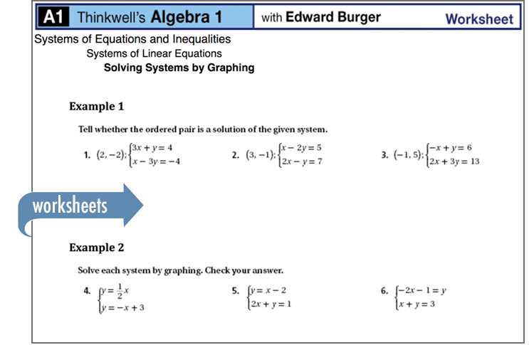 Sample of Thinkwell's Algebra 1 Math worksheets