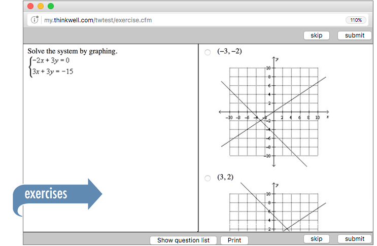 Sample of Thinkwell's Algebra 1 Math exercises