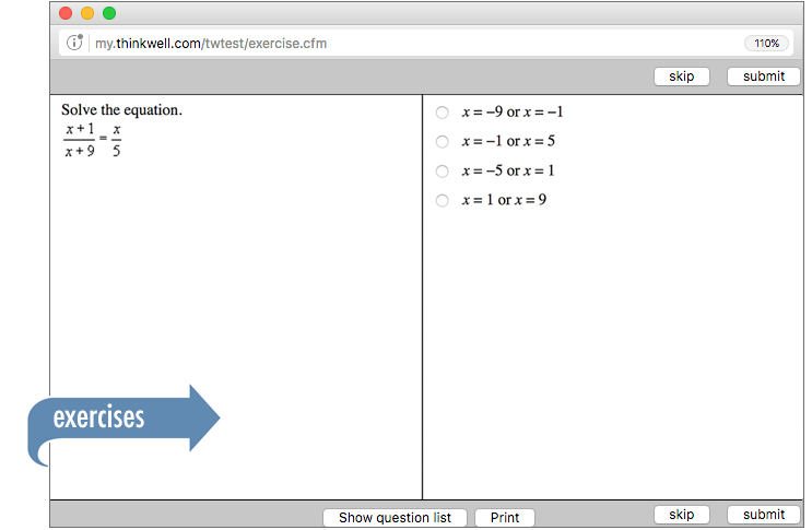 Sample of Thinkwell's Algebra 2 Math exercises