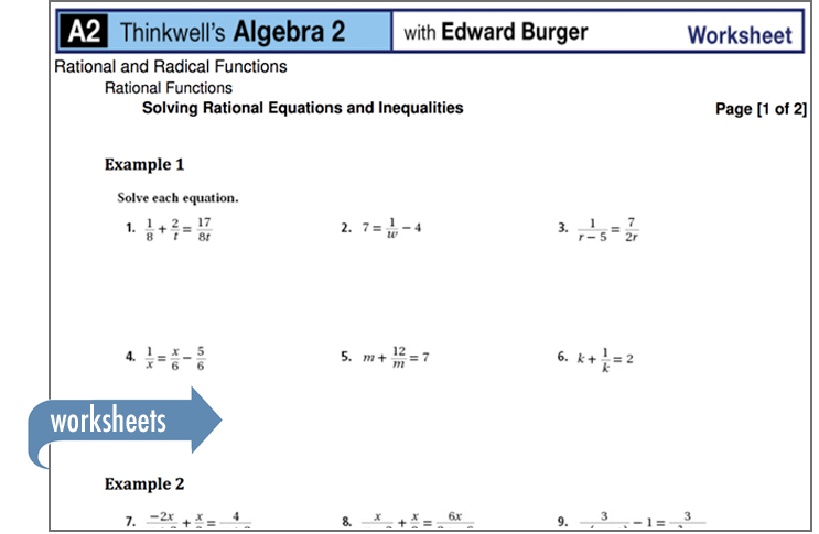 Sample of Thinkwell's Algebra 2 Math worksheets