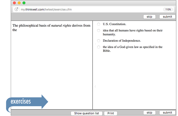 Sample of Thinkwell's AP American Government exercises