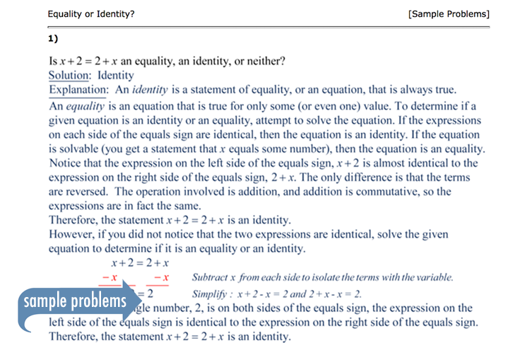 Sample of Thinkwell's Beginning Algebra notes