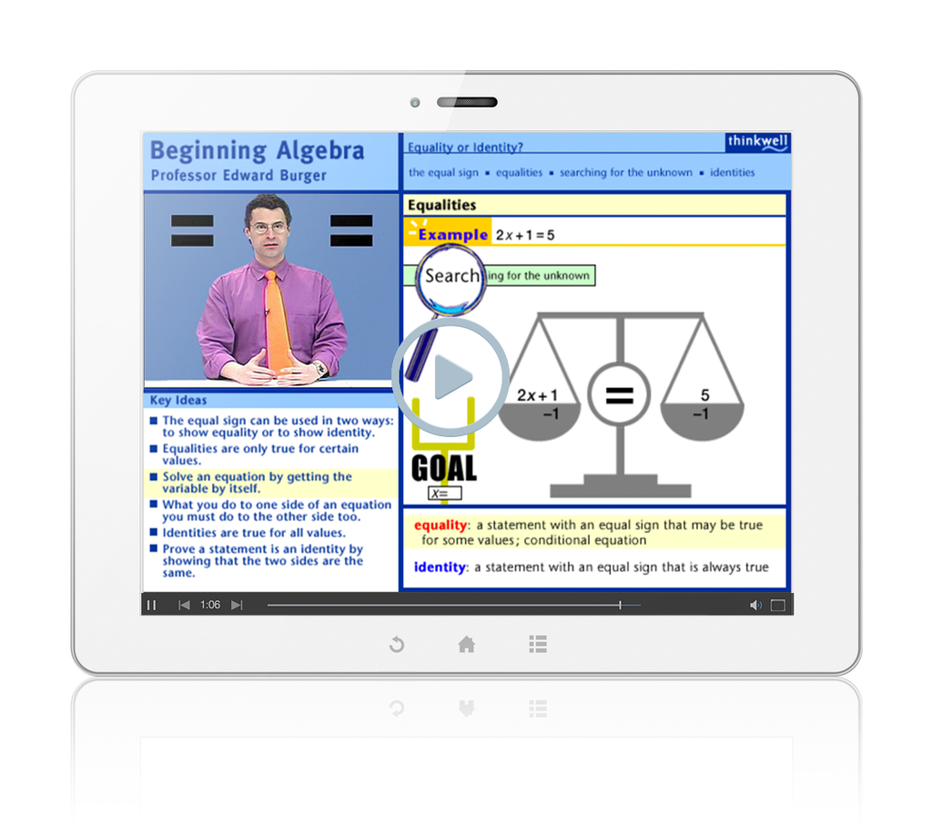 Sample of Thinkwell's Beginning Algebra videos
