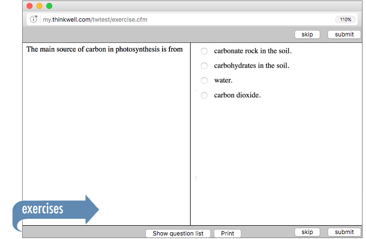 Sample of Thinkwell's AP Biology exercises