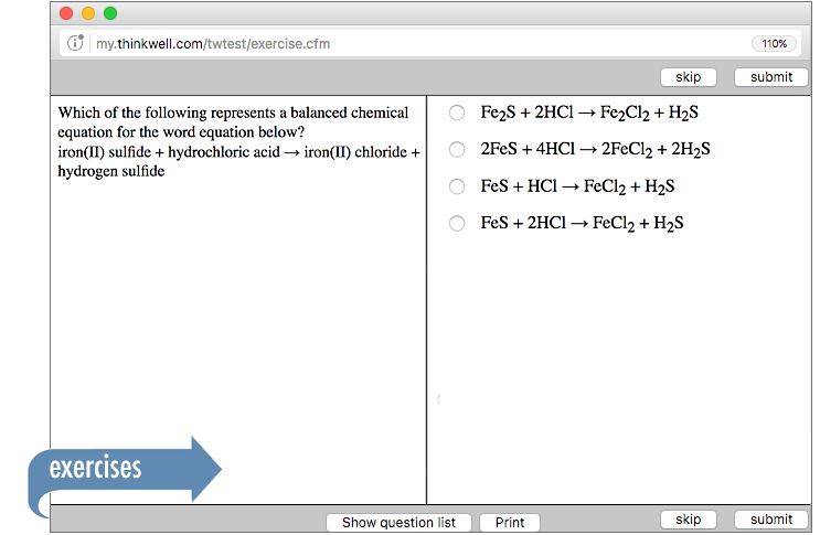 Sample of Thinkwell's Chemistry exercises