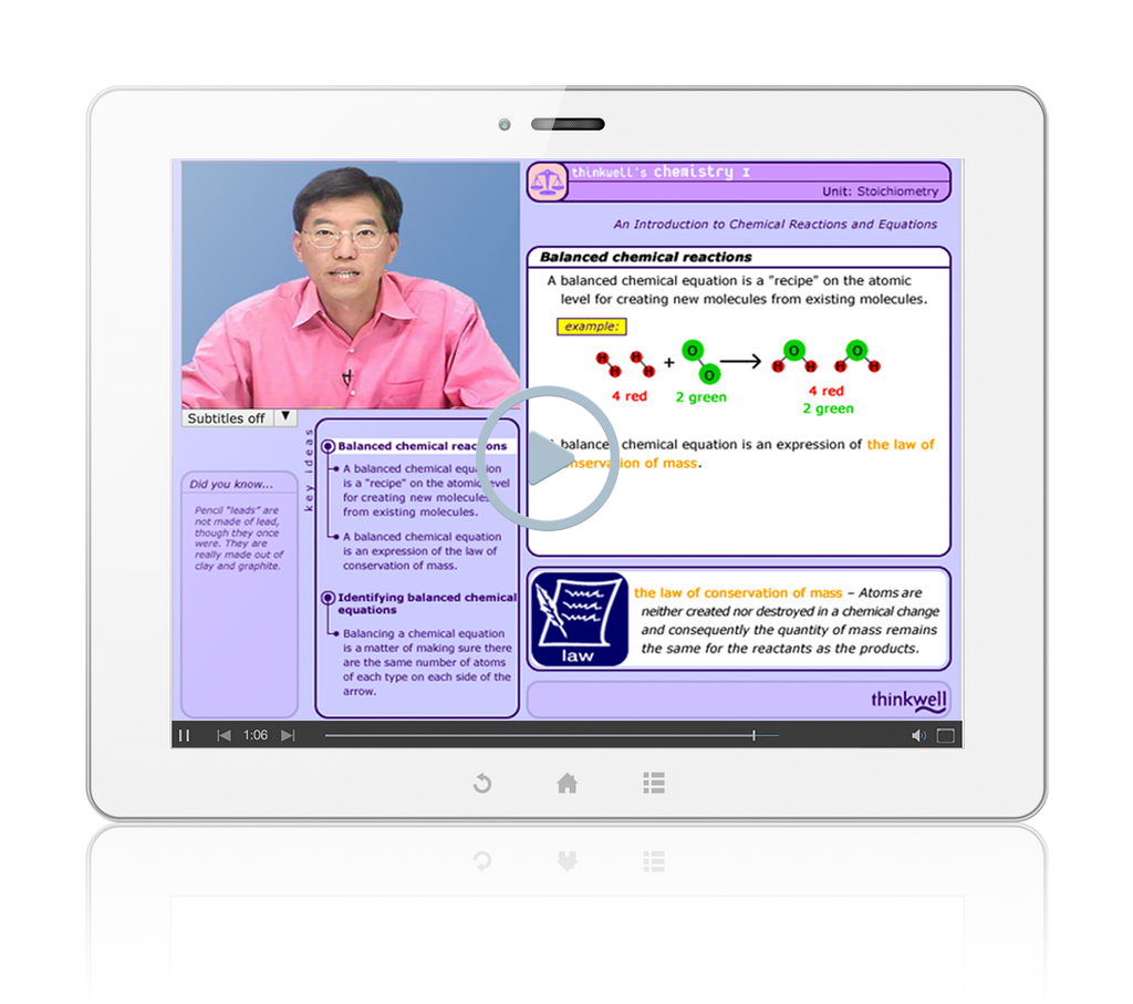 Sample of Thinkwell's Chemistry videos