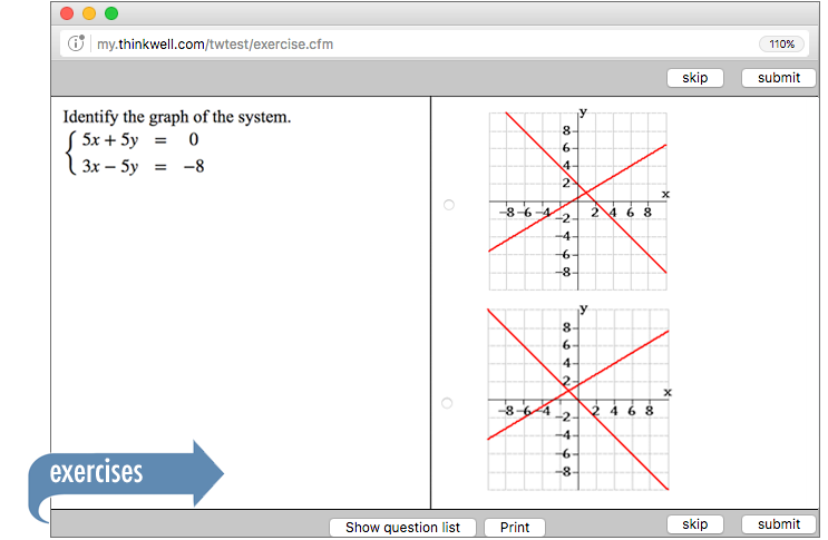 Sample of Thinkwell's College Algebra exercises