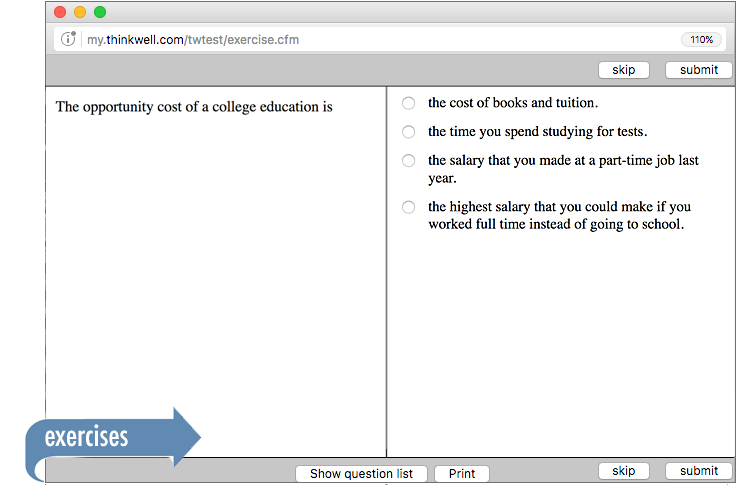 Sample of Thinkwell's Economics exercises