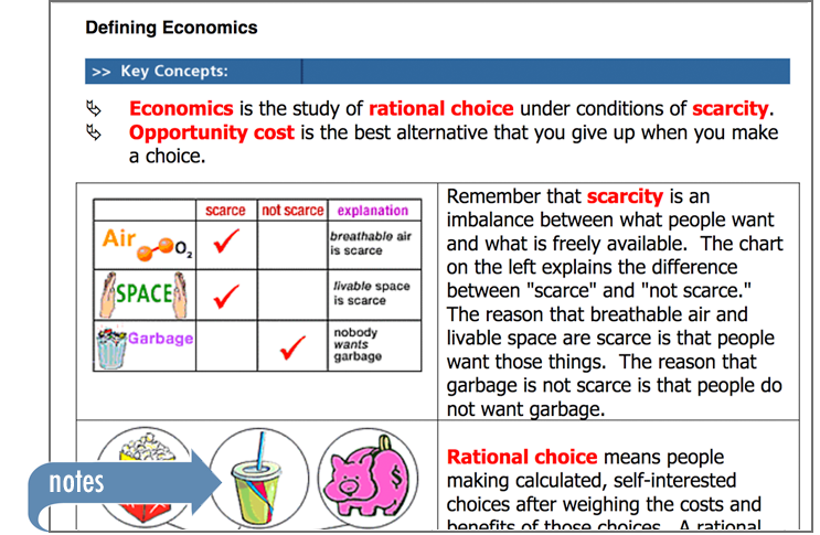 Sample of Thinkwell's Economics book