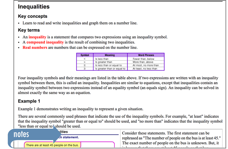 Sample of Thinkwell's Foundations of Math book