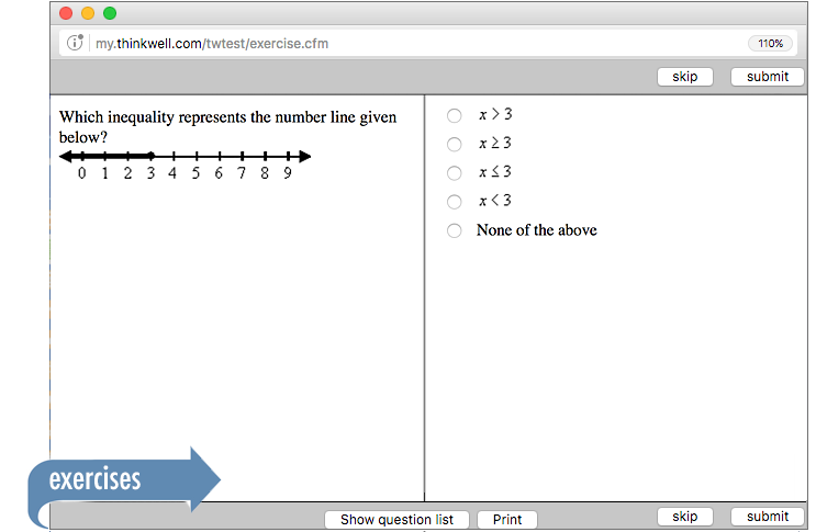 Sample of Thinkwell's Foundations of Math exercises