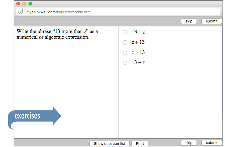 Sample of Thinkwell's Grade 6 Math exercises