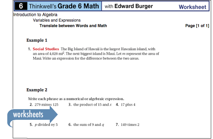 Sample of Thinkwell's Grade 6 Math worksheets