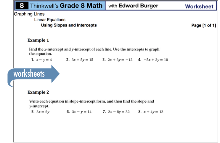 Sample of Thinkwell's Grade 8 Math worksheets