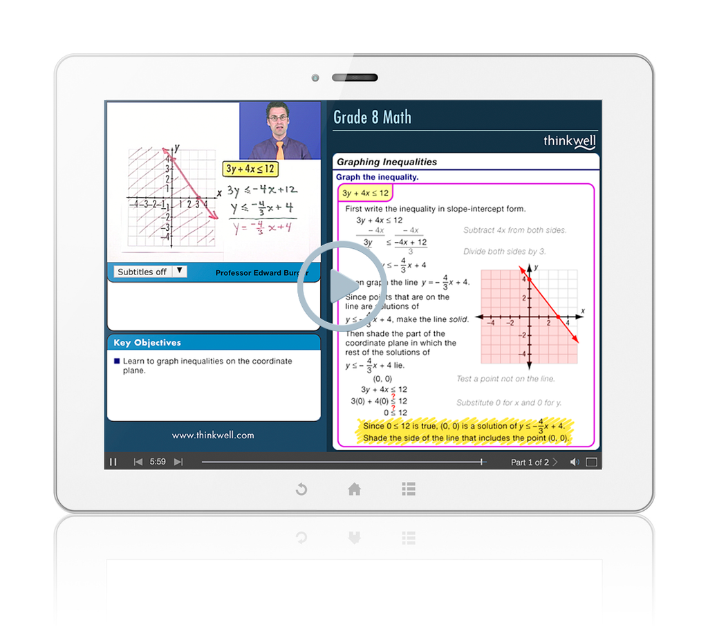 Sample of Thinkwell's Grade 8 Math videos