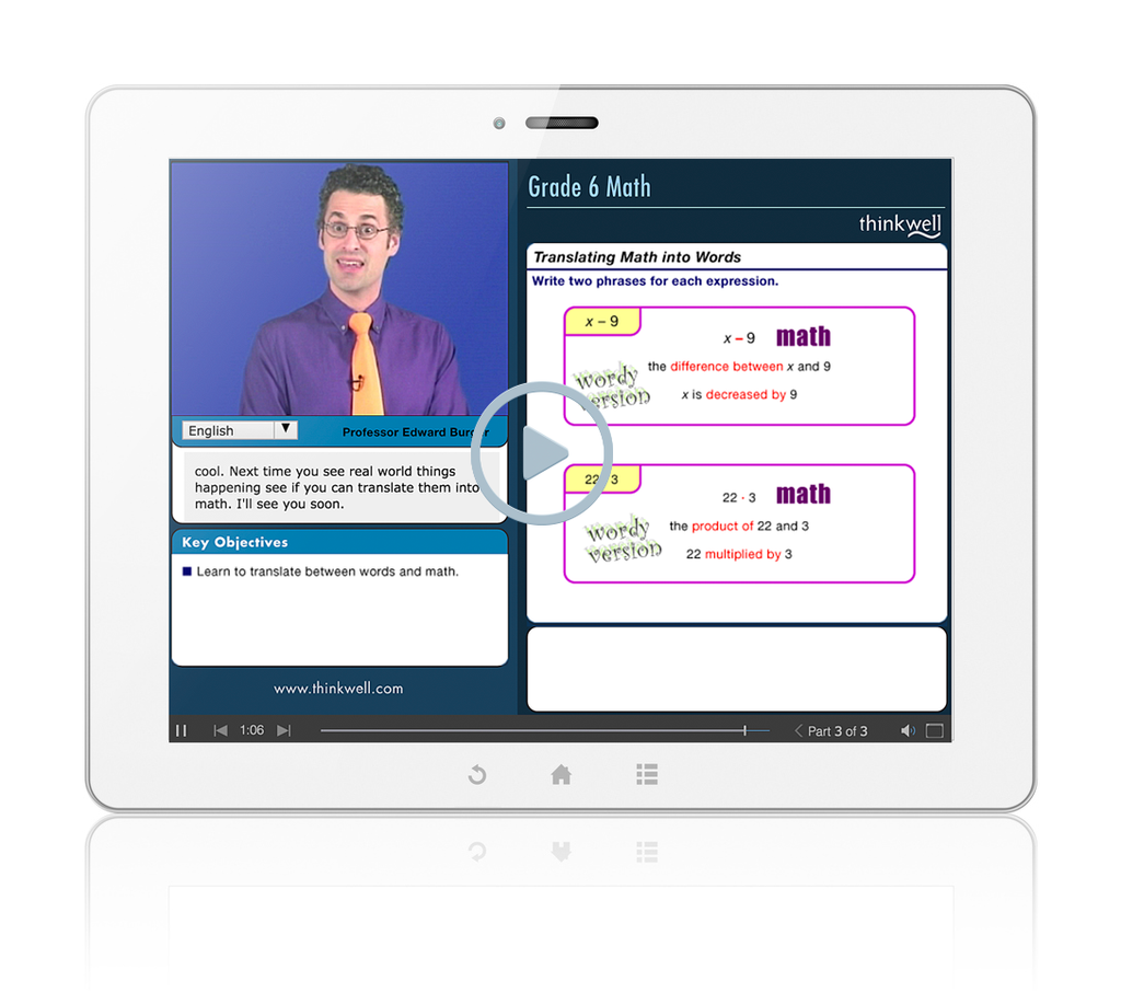 Sample of Thinkwell's Grade 6 Math Videos