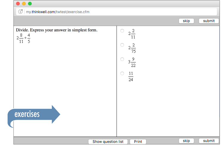 Sample of Thinkwell's Grade 7 Math exercises