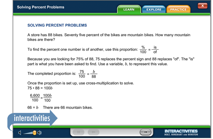 Sample of Thinkwell's Grade 7 Math book