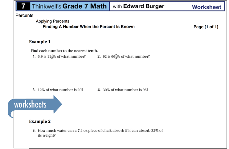 Sample of Thinkwell's Grade 7 Math worksheets