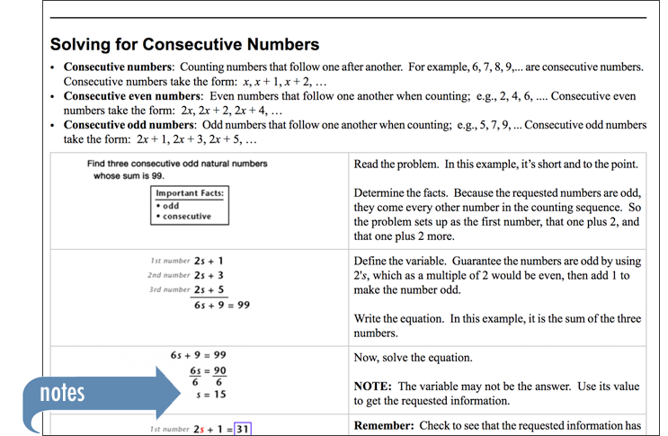 Sample of Thinkwell's Intermediate Algebra book