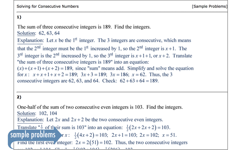 Sample of Thinkwell's Intermediate Algebra sample problems