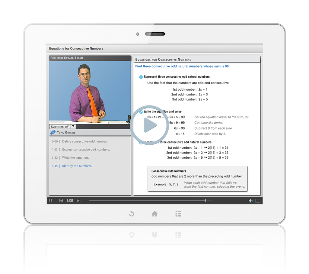 Sample of Thinkwell's Intermediate Algebra videos