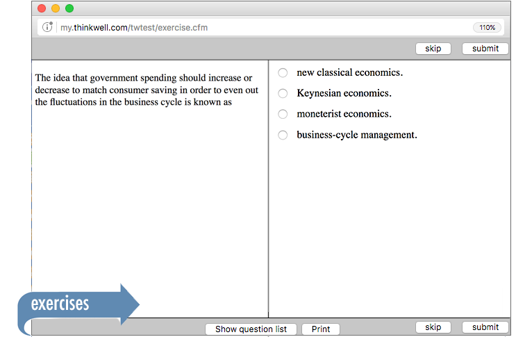 Sample of Thinkwell's Macroeconomic execises