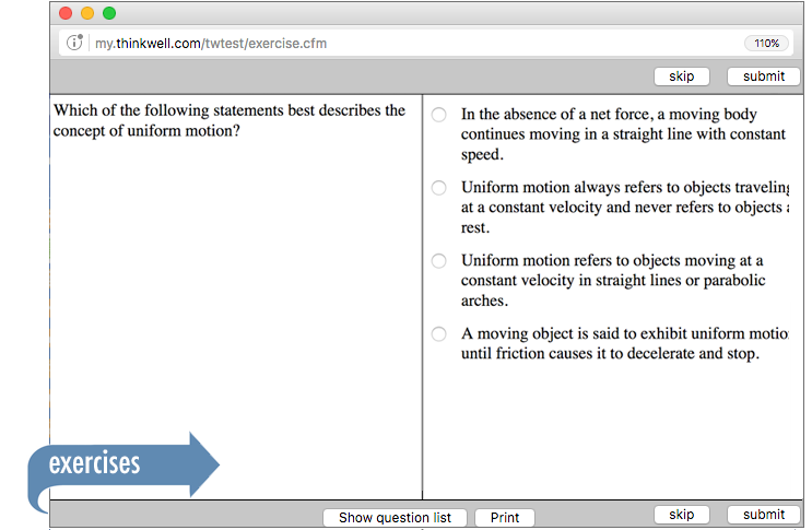 Sample of Thinkwell's Physics 1 exercises