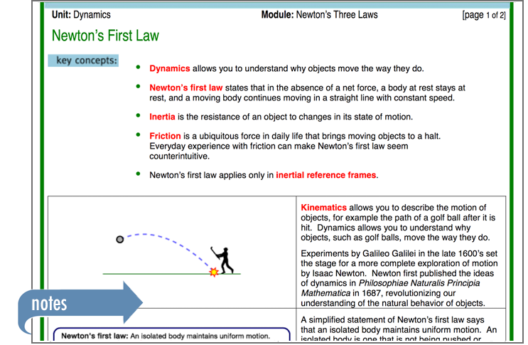 Sample of Thinkwell's Physics 1 book