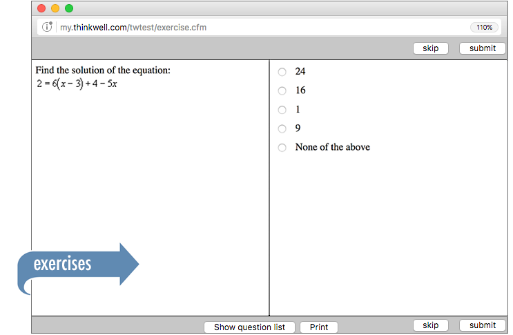 Sample of Thinkwell's Pre-algebra exercises