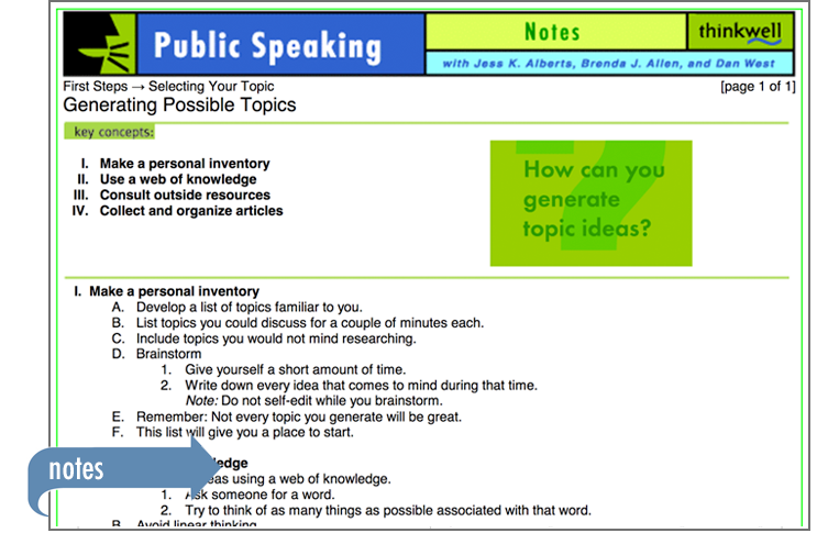 Sample of Thinkwell's Public Speaking book