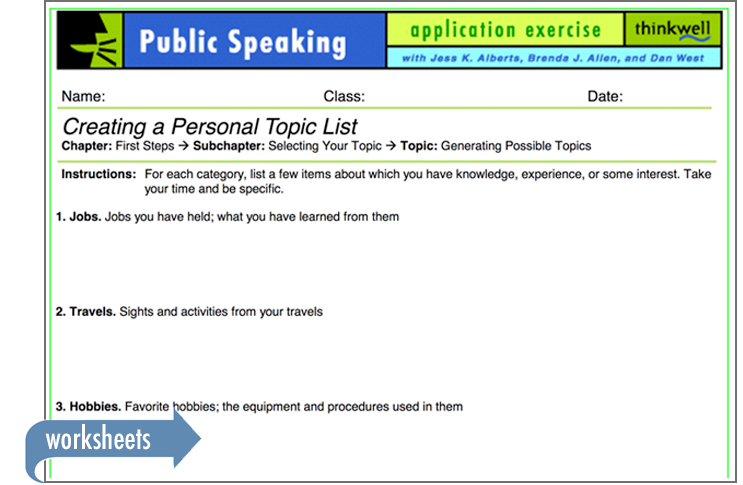 Sample of Thinkwell's Public Speaking worksheets