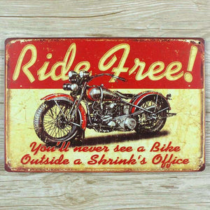 Vintage Classic Tin Wall Decor- Ride Free Motorcycle