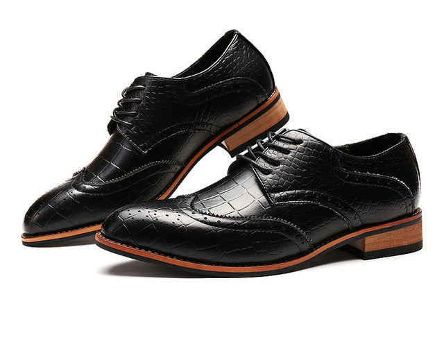 Alligator Full Brogue Casual Dress Shoes