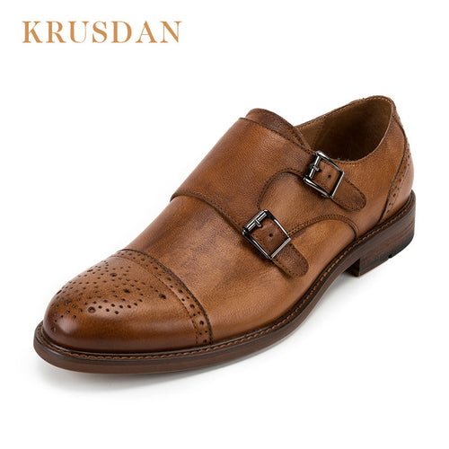 Slip On Double Buckle Brouge Dress Shoes