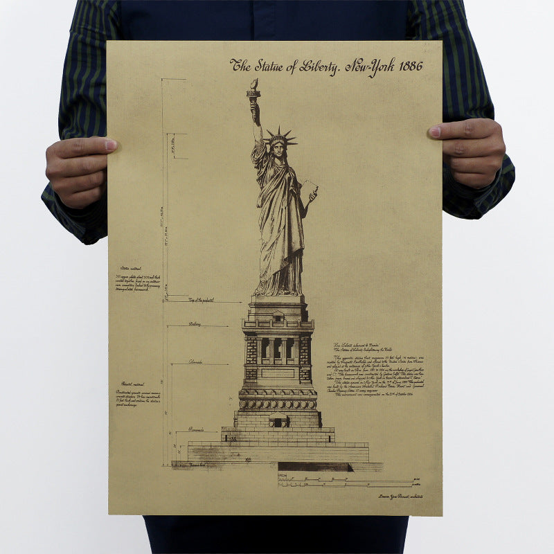 1886 Statue of Liberty Vintage Painting