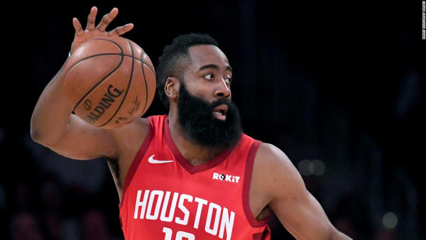James Harden and his beard with a ball