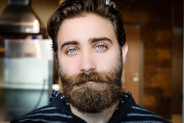 Thick beard blue eyes